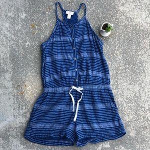 LOFT. Blue Striped. Romper. Size XS.